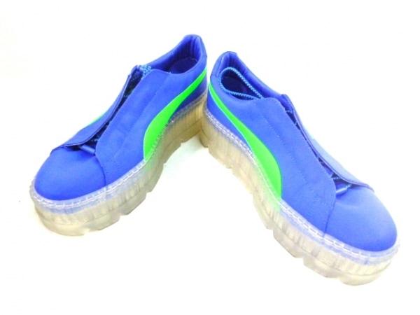 フェンティプーマバイリアーナ スニーカー メンズ ブルー×グリーン 化学繊維