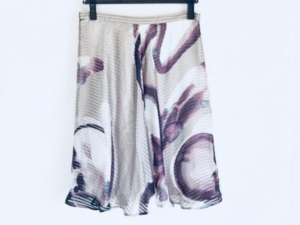 Max Mara(マックスマーラ) スカート レディース美品  ライトグレー×パープル×白