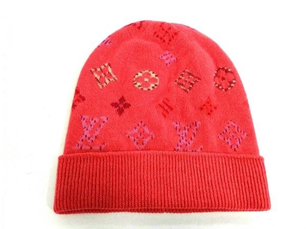 LOUIS VUITTON(ルイヴィトン) ニット帽美品  ピンク×マルチ ウール×カシミヤ