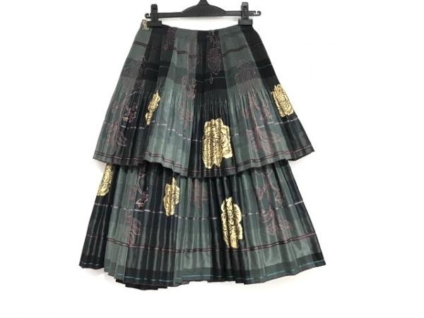 ヒロココシノ スカート サイズ9 M レディース美品  ダークグリーン×ベージュ×マルチ