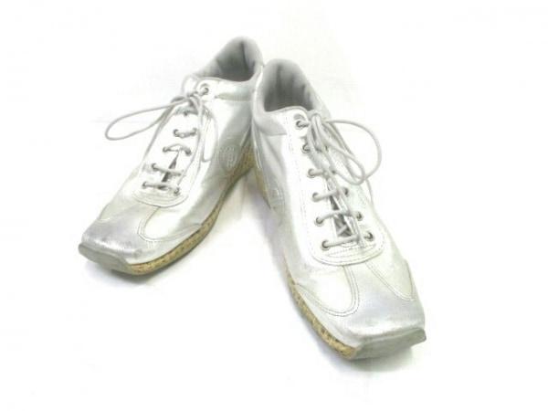 ノーネーム 靴 37 レディース シルバー ウェッジソール コーティングキャンバス