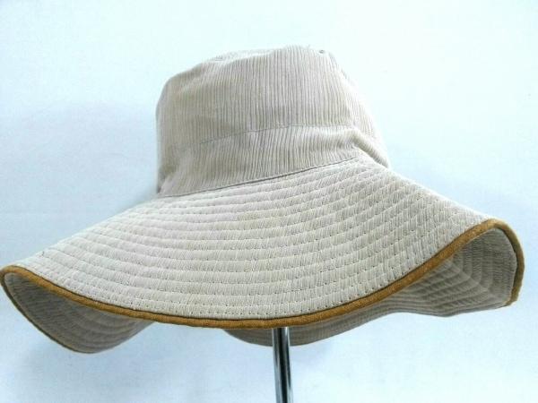 HERMES(エルメス) 帽子 58 ベージュ シルク×麻
