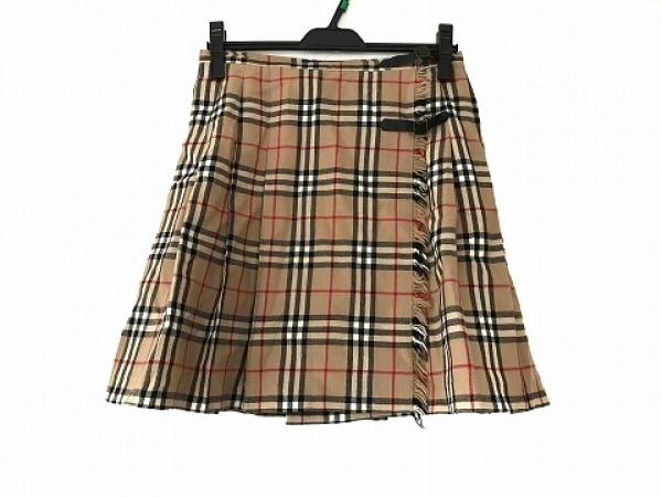 バーバリーブルーレーベル 巻きスカート サイズ38 M レディース ベージュ×黒×マルチ