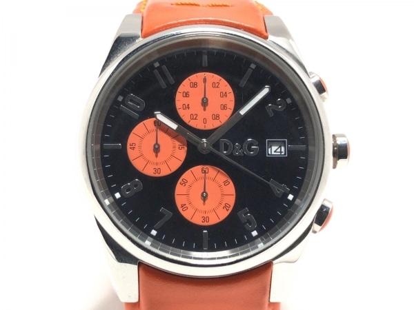 D&G(ディーアンドジー) 腕時計美品  - メンズ 革ベルト/クロノグラフ 黒
