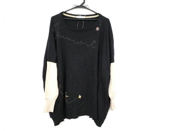 ツモリチサト 長袖セーター サイズ2 M レディース 黒×ベージュ ビーズ