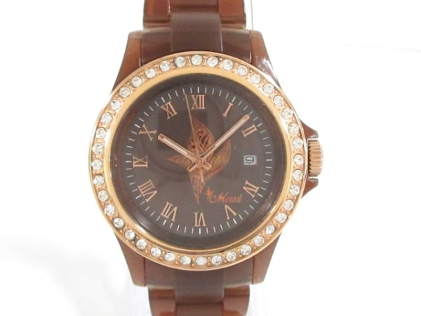 maxi(マキシ) 腕時計 - レディース ラインストーンベゼル ダークブラウン