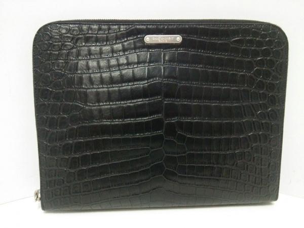 サンローランパリ クラッチバッグ美品  506691 黒 型押し加工 レザー