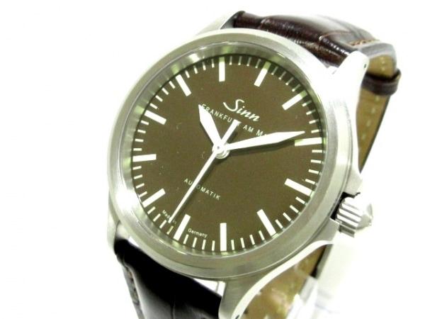 ジン 腕時計美品  556.BR メンズ 日本限定150本/裏スケ/革ベルト ダークブラウン