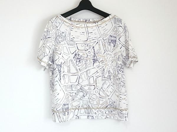 Leilian(レリアン) 半袖Tシャツ サイズ13+ S レディース 白×ネイビー×ベージュ