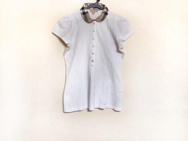 バーバリーブリット 半袖ポロシャツ サイズM レディース 白×ベージュ×マルチ