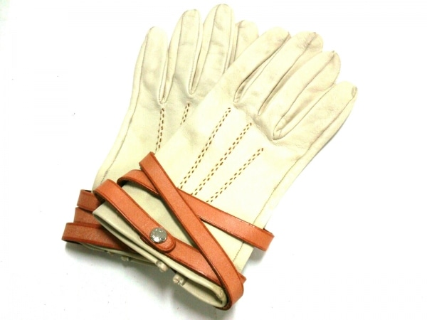 HERMES(エルメス) 手袋 6 1/2 レディース アイボリー×ブラウン レザー