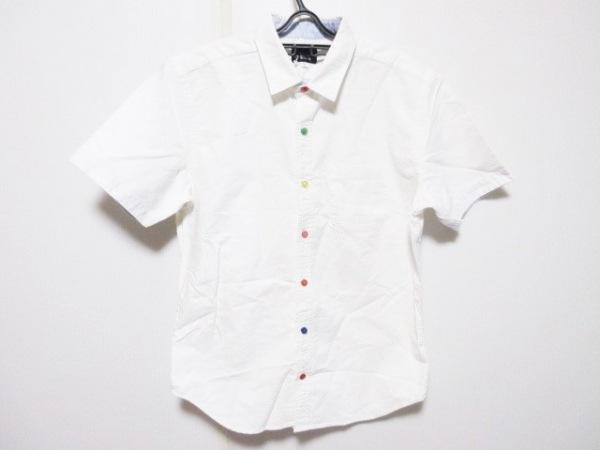 ザ ショップ ティーケー 半袖シャツ サイズM メンズ 白×マルチ