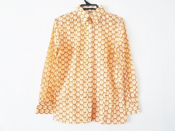 ピッコーネ 長袖シャツブラウス サイズ14 XL レディース美品  白×イエロー×オレンジ