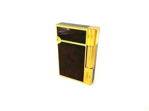 Dupont(デュポン) ライター美品  ブラウン×ダークブラウン×ゴールド 金属素材
