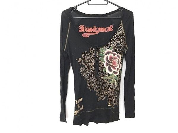デシグアル 長袖Tシャツ サイズS レディース 黒×ゴールド×マルチ フラワー/ラメ