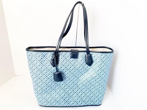 コールハーン トートバッグ ライトブルー×ネイビー PVC(塩化ビニール)×レザー
