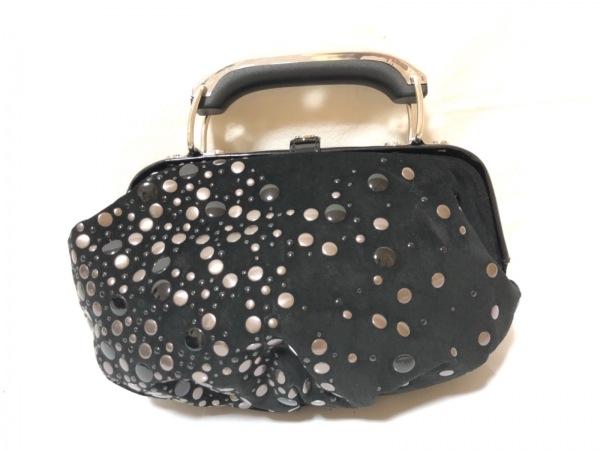 DIESEL(ディーゼル) ハンドバッグ 黒×シルバー ミニ/スタッズ スエード×金属素材