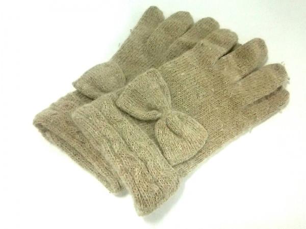 FURLA(フルラ) 手袋 レディース ベージュ リボン ウール 1