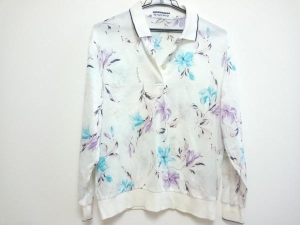 マンシングウェア 長袖ポロシャツ レディース 白×パープル×マルチ GRANDSLAM/花柄