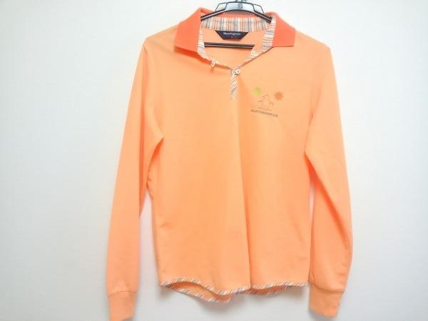 マンシングウェア 長袖ポロシャツ レディース オレンジ×白×マルチ GrandSlam/刺繍
