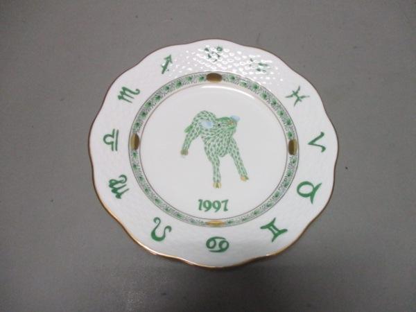 ヘレンド プレート新品同様  白×グリーン×ゴールド イヤーズプレート/1997/丑 陶器