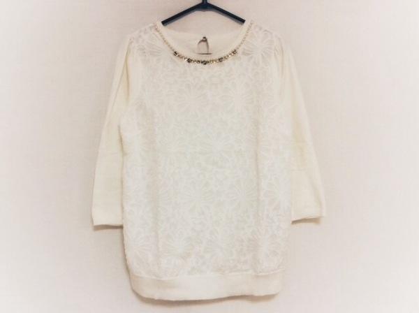 ジャスグリッティー 七分袖セーター サイズ2 M レディース美品  白 ビジュー