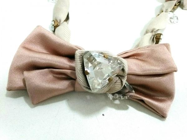 miumiu(ミュウミュウ) ネックレス美品  化学繊維×金属素材 ピンク×ゴールド×マルチ