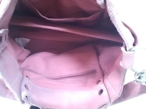 TRES(トレ) ハンドバッグ ピンク×シルバー ×And A/スタッズ ヌバック×金属素材