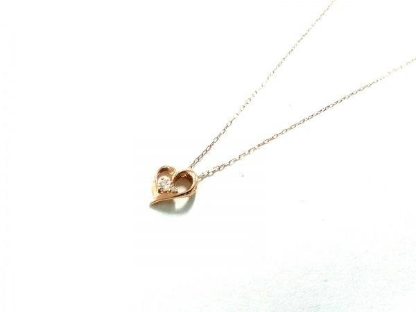 4℃(ヨンドシー) ネックレス美品  K10×ラインストーン クリア ハート