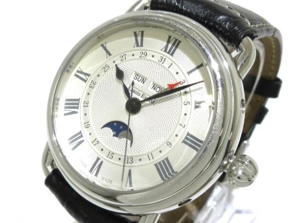 ルイ エラール 腕時計 60902 メンズ SS/ムーンフェイズ/裏スケ/革ベルト シルバー
