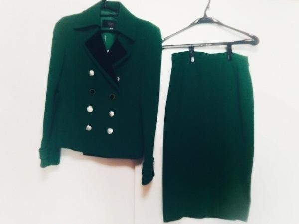 ignes(イグネス) スカートスーツ サイズ40 M レディース グリーン×黒 肩パッド