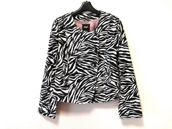 アナザーエディション ジャケット サイズM レディース美品  黒×白 ゼブラ柄