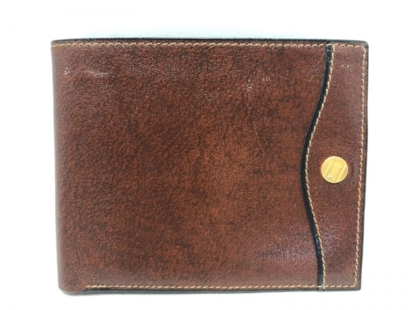 GOLD PFEIL(ゴールドファイル) 2つ折り財布 ダークブラウン パスケース付き レザー