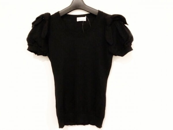 バレンチノ 半袖カットソー サイズS レディース美品  黒 ニット/リボン