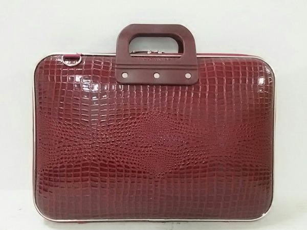 Bombata(ボンバータ) ビジネスバッグ レッド 型押し加工 エナメル(レザー)