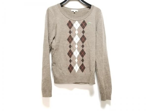 ラコステ 長袖セーター サイズ40 M レディース美品  ブラウン×アイボリー×マルチ
