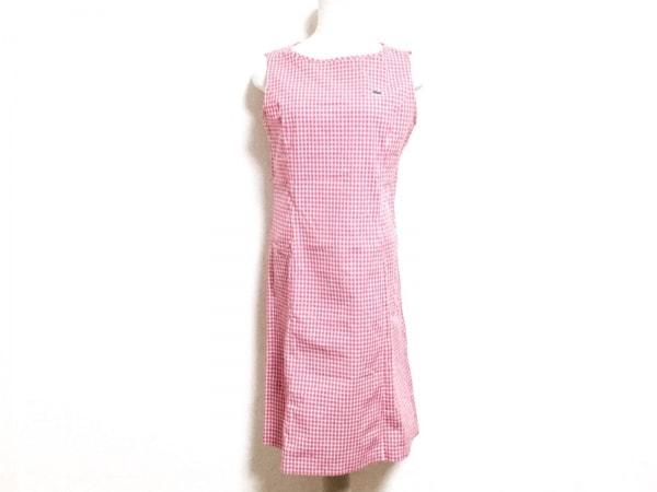 Lacoste(ラコステ) ワンピース サイズ42 L レディース美品  ピンク×白 チェック柄