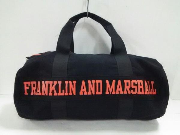 フランクリンアンドマーシャル ボストンバッグ美品  黒×オレンジ キャンバス