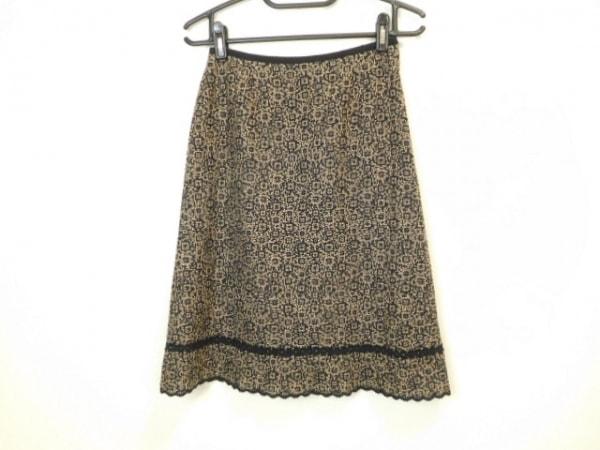 Leilian(レリアン) スカート サイズ9 M レディース美品  黒×ベージュ ラメ