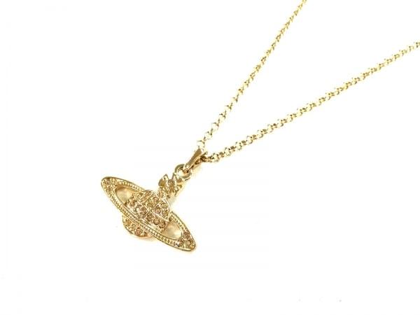 ヴィヴィアンウエストウッド ネックレス美品  金属素材×ラインストーン ゴールド