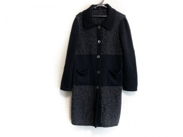 レリアン コート サイズ48 XL レディース 黒×ダークグレー ニット/春・秋物/MATUCCI