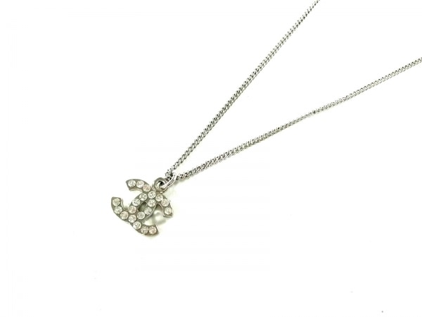 CHANEL(シャネル) ネックレス美品  金属素材×ラインストーン シルバー ココマーク