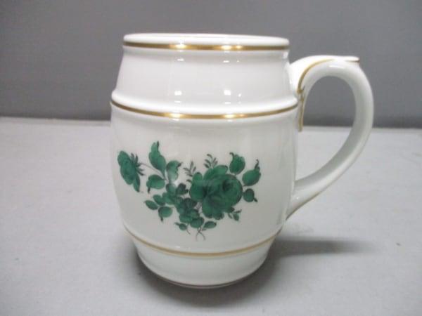 アウガルテン マグカップ新品同様  白×グリーン×ゴールド KIRIN BEER MUG/フラワー