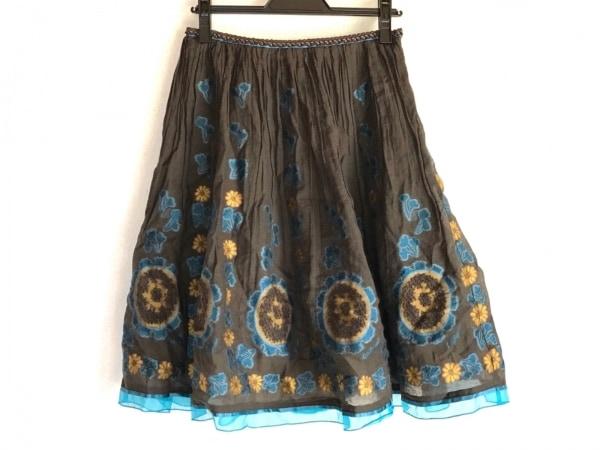 ロイスクレヨン スカート サイズM レディース ダークブラウン×ブルー×イエロー
