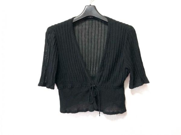 Leilian(レリアン) カーディガン サイズ11 M レディース 黒 半袖/シルク混