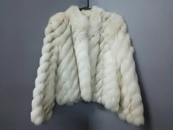 SAGA FOX(サガフォックス) コート サイズ11 M レディース 白×ブラウン ファー/冬物