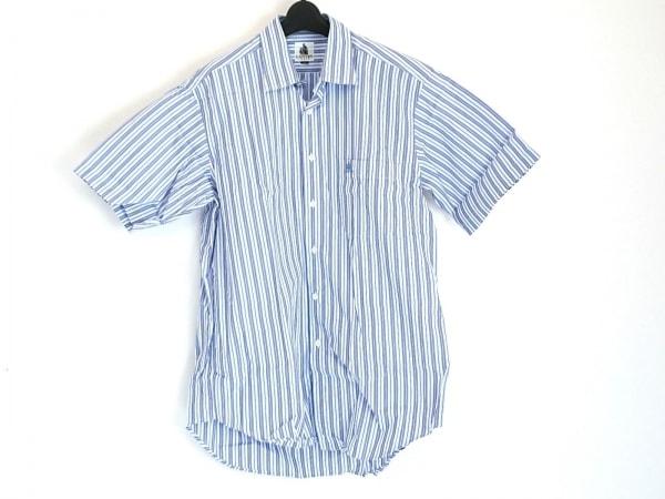 LANVIN(ランバン) 半袖シャツ サイズL メンズ美品  ネイビー×白×マルチ ストライプ