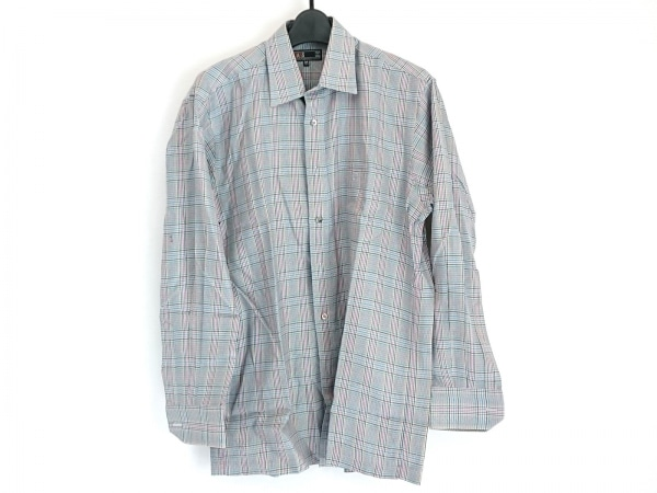 DAKS(ダックス) 長袖シャツ サイズM メンズ ライトグレー×黒×マルチ チェック柄