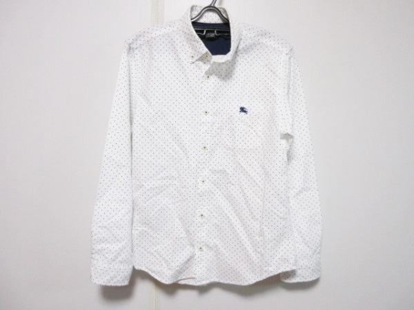 バーバリーブラックレーベル 長袖シャツ サイズ2 M メンズ 白×ブルー ドット柄