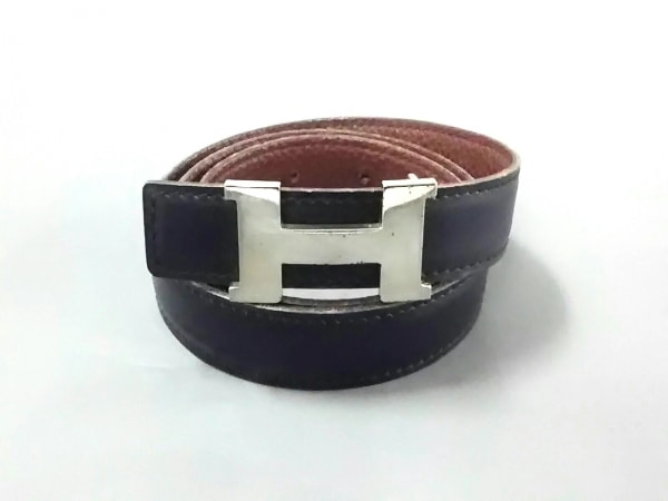 HERMES(エルメス) ベルト 87 Hベルト 黒×シルバー リバーシブル/新型/シルバー金具
